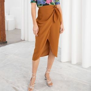 & Other Stories Sarong Wrap Midi Skirt Rust 4